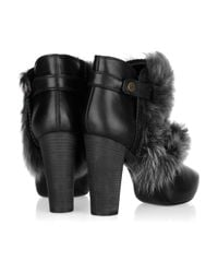 Donna Karan - Black Shearling-trimmed Leather Ankle Boots - Lyst