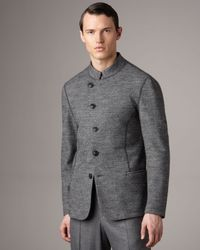 Giorgio Armani - Gray Asymmetric Herringbone Jacket for Men - Lyst