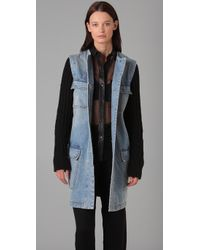 Alexander Wang | Blue Knit & Denim Combo Jacket | Lyst
