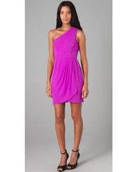 Shoshanna - Purple Pleated One Shoulder Dress - Lyst