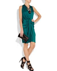 Lanvin | Blue Draped Washed-satin Halterneck Dress | Lyst