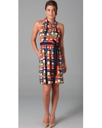MILLY - Multicolor Madras Plaid Silk Halter Dress - Lyst