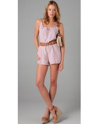 Torn By Ronny Kobo - Pink Floral Romper - Lyst