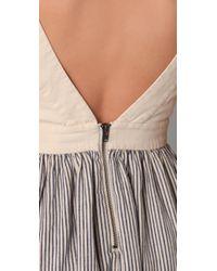 Twenty8Twelve - Blue Bat Striped Cotton and Linen blend Dress - Lyst