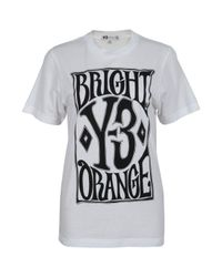 Y-3 | Gray Bright Orange Logo Tee | Lyst