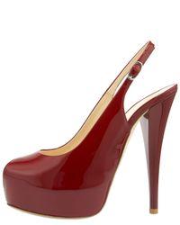 Giuseppe Zanotti | Red Patent Leather Slingback Pumps | Lyst