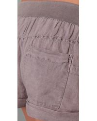 Splendid | Gray Tie Front Shorts | Lyst