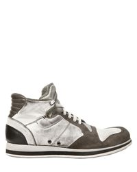 Alberto Fasciani | Gray Washed Calf and Suede High Sneakers | Lyst
