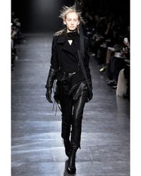 Ann Demeulemeester - Black Cropped Leather Trousers - Lyst
