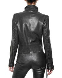 Ann Demeulemeester | Black Lace Up-detail Leather Jacket | Lyst