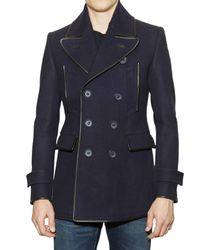 Burberry Prorsum | Blue Leather Trimmed Pea Coat for Men | Lyst