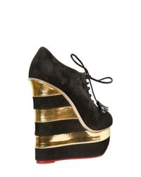 Charlotte Olympia - Black Martha in Stripes Suede and Leather Wedges - Lyst