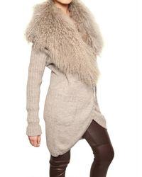 Dolce & Gabbana   Beige Mongolian Fur & Alpaca Wool Knit Sweater   Lyst