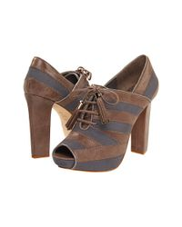 Juicy Couture - Brown Fredo - Frenchtaupe Suede Open Toe Bootie - Lyst