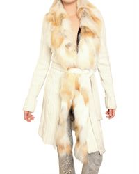 Roberto Cavalli | White Long Cardigan with Detachable Fox Collar | Lyst