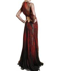 Roberto Cavalli - Red Feather Print Silk Chiffon Dress - Lyst