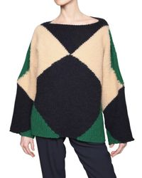 Stella McCartney | Blue Geometric-knit Raglan Sweater | Lyst