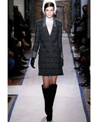 Saint Laurent - Black Prince Of Wales Tweed Riding Coat - Lyst