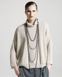 Brunello Cucinelli | Natural Oversized Ribbed Cashmere Sweater | Lyst