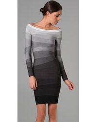 Hervé Léger - Gray Long Sleeve Ombre Dress - Lyst