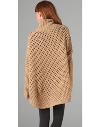 See By Chloé | Natural Beige Honeycomb Chunky Cape | Lyst