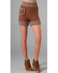 See By Chloé | Orange Striped Knit Shorts | Lyst
