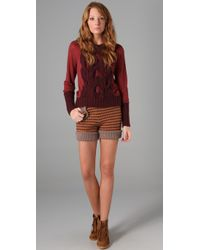 See By Chloé   Orange Striped Knit Shorts   Lyst