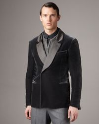 Giorgio Armani | Gray Double-breasted Velvet Jacket for Men | Lyst