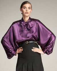 Saint Laurent | Purple Statement Bishop-sleeve Blouse | Lyst