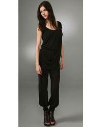 McQ | Black Jersey Drape Jumpsuit | Lyst