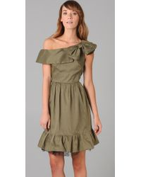 RED Valentino - Green Bow Cocktail Dress with Tulle - Lyst