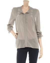 By Malene Birger | Brown Noalanas Crystal-embellished Cotton-blend Shirt | Lyst