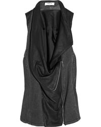 Helmut Lang - Gray Asymmetric Leather and Denim Vest - Lyst