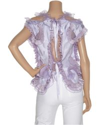 Marc Jacobs | Purple Ruffled Pearl-embellished Satin Top | Lyst