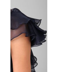 Notte by Marchesa - Blue One Shoulder Column Gown with Organza Ruffle - Lyst