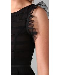 RED Valentino - Black Sleeveless Dress with Ruffles - Lyst