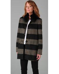 Alice + Olivia | Black Hilda Fur Collar Coat | Lyst