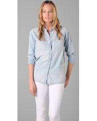 Madewell | Blue Perfect Chambray Ex-boyfriend Shirt in Ferrous Wash | Lyst