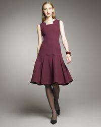 Oscar de la Renta - Purple Seamed Drop-waist Dress - Lyst