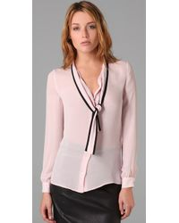 RED Valentino   Pink Tie Front Blouse   Lyst