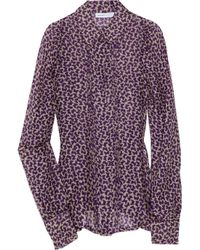 See By Chloé - Purple Butterfly-print Silk-blend Chiffon Blouse - Lyst