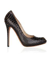 Alexander McQueen   Black Structured-toe Snakeskin Pumps   Lyst
