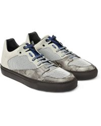 Balenciaga - Gray Mesh and Leather Sneakers for Men - Lyst