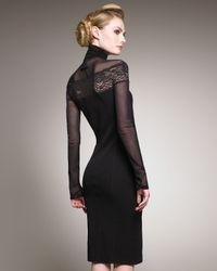 Jean Paul Gaultier - Black Long-sleeve Lace-inset Dress - Lyst