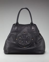 Tory Burch | Black Leather-logo Summer Tote | Lyst