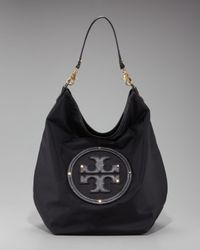 Tory Burch | Black Logo Nylon Hobo | Lyst