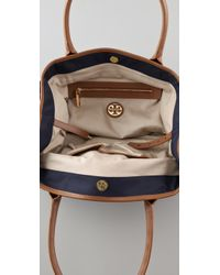 Tory Burch - Blue Stacked Logo Classic Tote - Lyst
