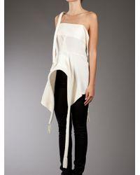 Yohji Yamamoto   White Structure Silk Top   Lyst