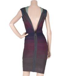 Hervé Léger - Purple Plunge-back Ombré Bandage Dress - Lyst