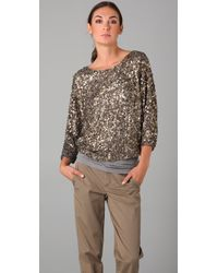 VINCE | Metallic Cluster Sequin Top | Lyst